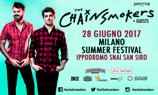THE CHAINSMOKERS – Al Milano Summer Festival l'unica data europea della band.